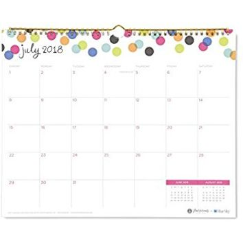 "Ampersand for Blue Sky 2018-2019 Academic Year Monthly Wall Calendar, Twin-Wire Binding, 15"" x 12"", Dots Design"