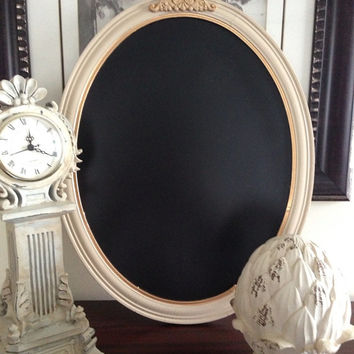 Antique Wood Oval Framed Chalkboard Gold by ColorfulHomeDesigns