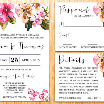 Personalized DIY Printable Simple Wedding Invitation Suite Romantic Watercolor Flower Floral Spring Wedding Set Customize Wedding Invite Set