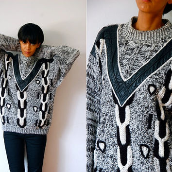 Vtg Leather Trimmed Chunky Cable Knit Black White Grey Sweater