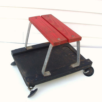 Rustic Mechanics Stool, Industrial Workshop Bench, Wooden Stool, Rolling Cart - Mechanics Creeper, Occasional Table