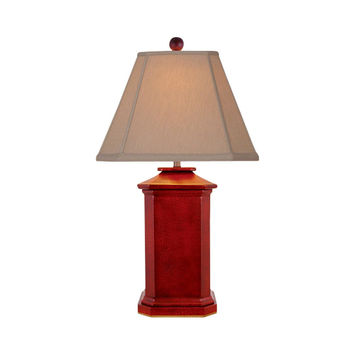 """Chinese Red Lacquer Porcelain Square Vase Style Table Lamp 27"""""""