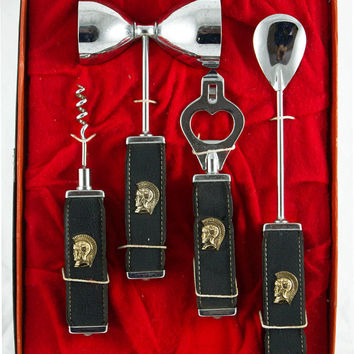 Vintage 1960s Barware Tool Set in Box - Retro Bar Tools with Gladiator Motif