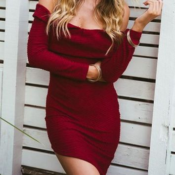 Casual Burgundy Red Irregular Off Shoulder Long Sleeve Trendy Las Vegas Party Mini Dress