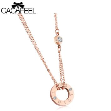 GAGAFEEL Choker Love Necklace Round Pendant Women Necklaces Clavicle Chain Stainless Steel Jewelry Gift For Girlfriends Lover