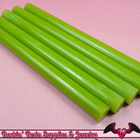 5 Apple GREEN Mini Hot GLUE STICKS / Deco Sauce / Fake Icing / Nail Art Stick / Faux Wax Seals