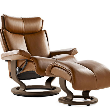 Magic Large Recliner and Ottoman by Stressless in Royalin Tiger Eye Leather