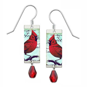 Lemon Tree Northern Cardinal Earrings with Red Bead Drop