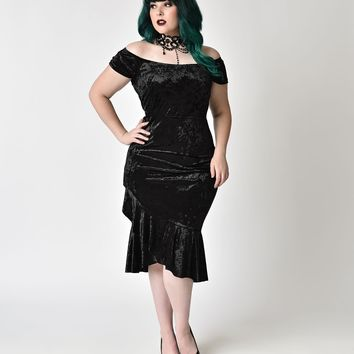 Gothic Style Plus Size Black Velvet Mermaid Dress