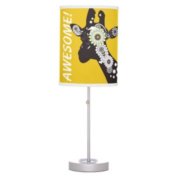 Funky Cool Paisley Giraffe Whimsical Yellow Desk Lamp