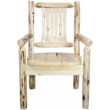 Montana Woodworks - Montana Collection Captain's Chair, Ready to Finish w/ Ergonomic Wooden Seat
