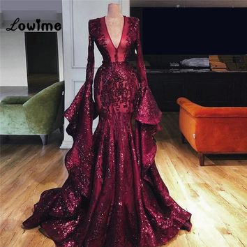 Couture Sequined Arabic Evening Dresses V Neck  Gowns Long Mermaid Dresses Formal