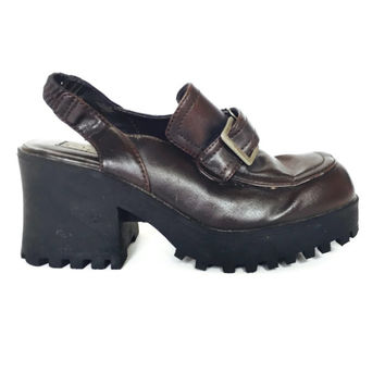 90s Platforms Slingbacks Loafer Mules with Treaded Lug Sole Size 8