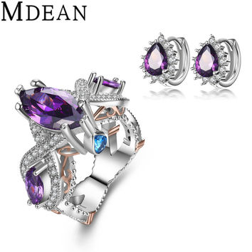 MDEAN Purple Gem CZ diamond jewelry White Gold Plated Jewelry Sets ring Engagement fashion earrings+rings for women fashion