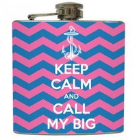 "Liquid Courage Flasks: ""Sorority Mascot Call My Big"" - Keep Calm and Call My Big Flask"