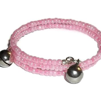 Baby Girl Pink & Silver Glass Beaded w/ Bells Artisan Crafted Adjustable Newborn Keepsake Wrap Bracelet (0-3mo)
