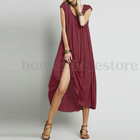 S-5XL Zanzea Women Short Sleeve Scoop Neck Maternity Cocktail Long Maxi Dress