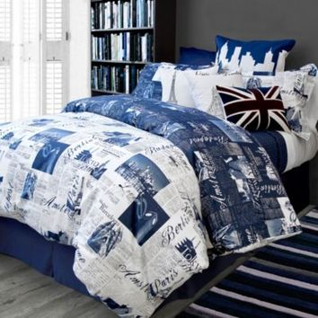 Bedlam Passport European Pillow Sham in Blue
