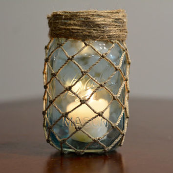 Nautical Mason Jar Decor, Fish Net, Twine, Mason Jar Candle Decor, Nautical Decor, Pint Sized Mason Jar, Cottage Decor, Summer Decor