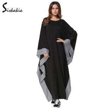 Siskakia Womens Abaya Plaid Trim patchwork Bat type Loose