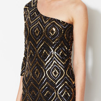 Kristiana One Sleeve Silk Sequin Dress by Alice + Olivia at Gilt