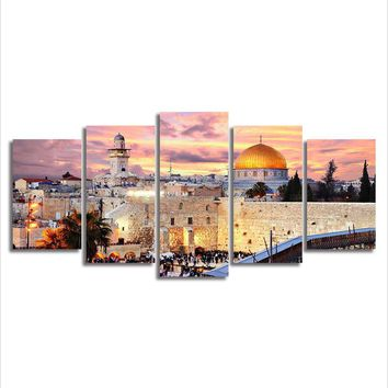 Wall Art Canvas Prints Living Room HD Prints Posters 5 Pieces Islamic Arabic Calligraphy Muslim Building Paintings Home Decorate