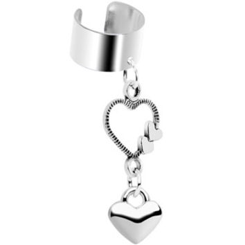 Open Your Heart Dangle Ear Cuff | Body Candy Body Jewelry
