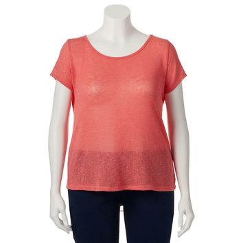 IZ Byer California Sheer High-Low Top - Juniors' Plus, Size: