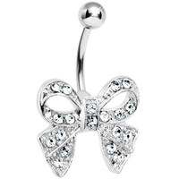 Crystalline Gem Beauteous Bow Belly Ring | Body Candy Body Jewelry