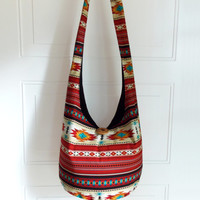 Hobo Bag, Sling Bag, Aztec, Southwestern, Geometric, Stripes, Red, Yellow, Turquoise, Hippie Purse, Crossbody Bag