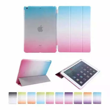 Rainbow Stand Leather Case For ipad mini 1 / 2 Retina / 3 Silk Slim Clear Transparent Smart Back Cover for apple ipad Mini 2