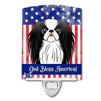 American Flag and Japanese Chin Ceramic Night Light BB2160CNL