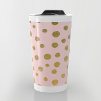 GOLDEN DOTS - PINK Travel Mug by Colorstudio | Society6