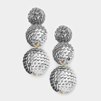 Silver Sequin Triple Bon Bon Style Earrings, Sequin Ball Earrings, Triple Ball Drop Earrings, Drop Earrings, Sequin Ball Earrings