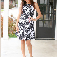 Fit for Tea Dress - Black and Ivory