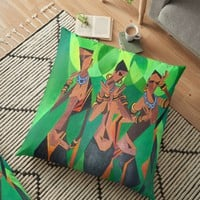 'Three Ethnic Traditional Black Women Dancing' Floor Pillow by taiche