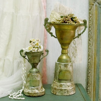 Vintage 50s rusted Trophy Cups verdigris vases decor Shabby chic aged trophy cup awards weathered set home decor