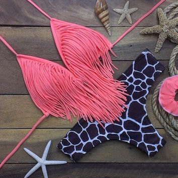Pink Tassel swimwear Set Swimsuit