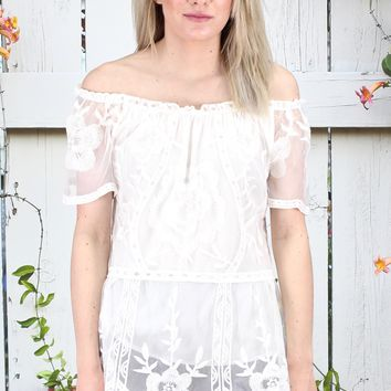 Off Shoulder Solid Lace Blouse {Off White}