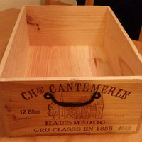Raw French wine crate & handle, wood crate, wine rack, wood box, French wine box, wine box, wine crate, wine crate furniture, French crate