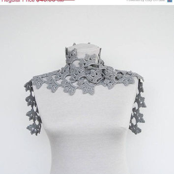 Crochet cotton lacy summer scarf in gray by Ayca on Etsy