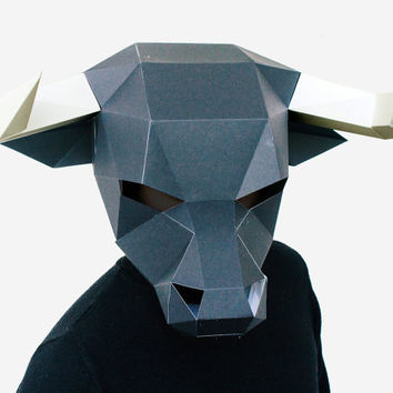 Make your own Bull Mask, Animal Head, Instant Pdf download, DIY Halloween Paper Mask, Printable Minotaur Mask, 3D Pattern, Polygon Masks