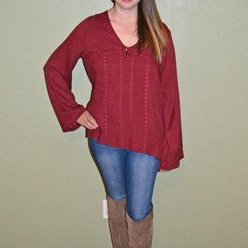Charmed By You Bell Sleeve Top: Red