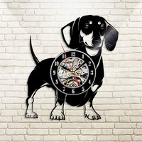 Dachshund Dog Animal Theme Creative 3D Vintage Vinyl LP Record  Wall Clock Decoration Ideas Gift Ideas for Dog Lovers