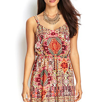 LOVE 21 Strappy Tribal Print Dress Cream/Orange