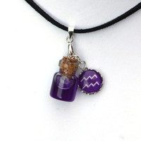Zodiac Necklace - Aquarius - bright purple, violet