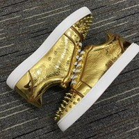 Christian Louboutin Cl Louis Junior Spikes Sneakers Gold - Best Deal Online