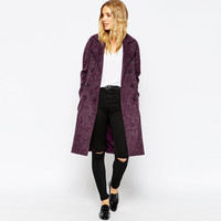 Double Breasted Long Sleeves Lapel Woolen Coat With Back Slit