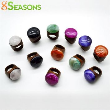 8SEASONS Fashion Wood Rings Women Men New Design Colorful Nartural Created Gem Stone Rings Jewelry US Size 7, 1 Piece