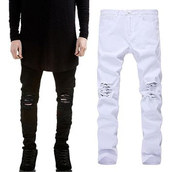 New Brand Men's Ripped Skinny Biker Jeans Distressed Frayed Slim Fit Denim Pants Trousers High Stretch Hip Hop Jeans Size 27-42